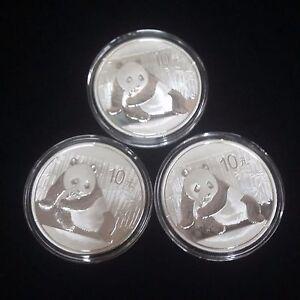 Lot-of-3-China-Panda-2015-10-Yuan-999-Silver-one-Oz-each-in-the-original-capsule