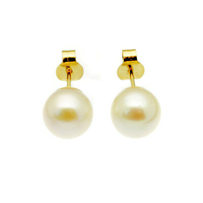 9ct Gold Pearl Stud Earrings  7mm Round White Cultured Pearls Yellow Gold Boxed