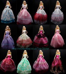 13-15-Items-5X-Party-Wedding-Gown-Dresses-Clothes-10-Pairs-Shoes-For-Barbie-Doll