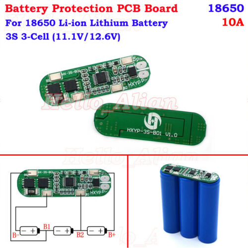3S 10A 11.1V 12.6V Lithium Li-ion 18650 Battery Packs BMS Protection PCB Board