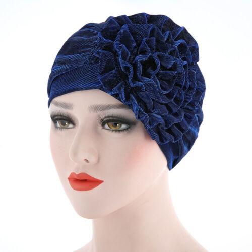 New Women India Muslim Fold Cancer Hat Pearl Beanie Scarf Turban Head Wrap Cap