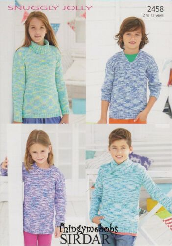ORIGINAL KNITTING PATTERN  2 TO 13 YEARS SIRDAR 2458 SWEATERS IN SNUGGLY JOLLY