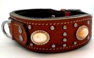 Collier De Chien En Cuir Véritable Typ Apache Indien Brun Beau Design V
