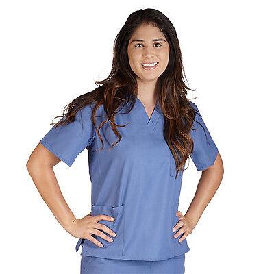 Unisex Men/Women V-Neck Scrub Top Petite Size Medical Hospital Nursing Uniform