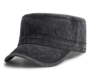 1703b06c9 Details about New Denim Flat Top Cap Women Men Snapback Cap Army Hat Cadet  Military Patrol Cap