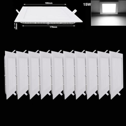 10X 15W LED Panel Lamp Ultraslim Einbaustrahler Kaltweiß Deckenlampe Platz Eckig