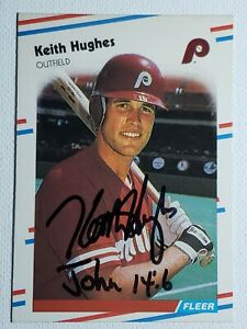 1988-Fleer-Keith-Hughes-Auto-Autograph-Card-Signed-Phillies-Mets-Orioles-305