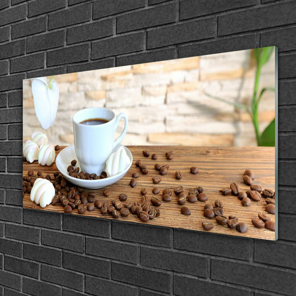 Image sur verre acrylique Tableau Impression 100x50 Cuisine Tasse Grains De Café
