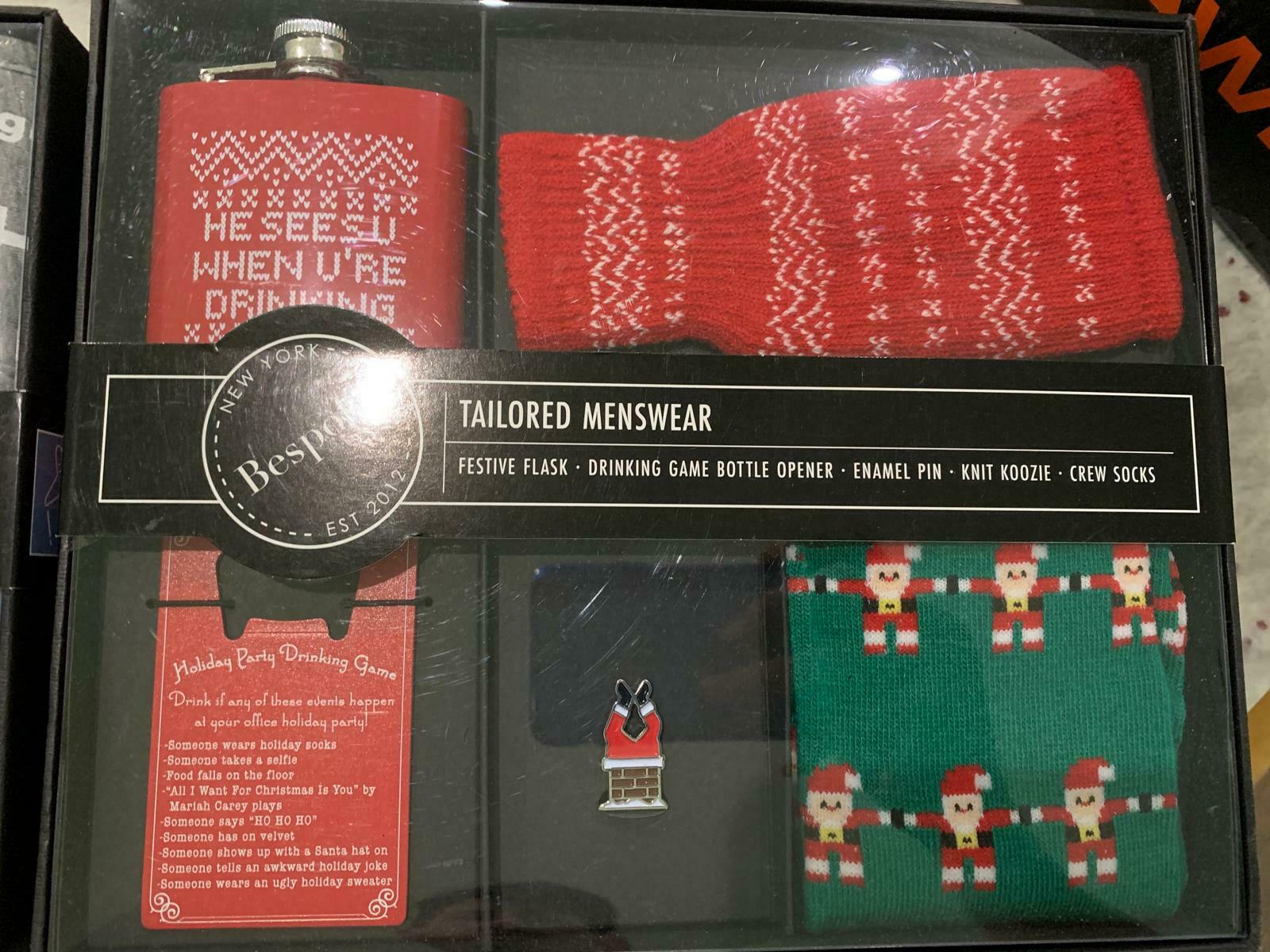 Bespoke Tailored Mens Holiday Party Boxed Set Christmas Gift Box Accessories NWT