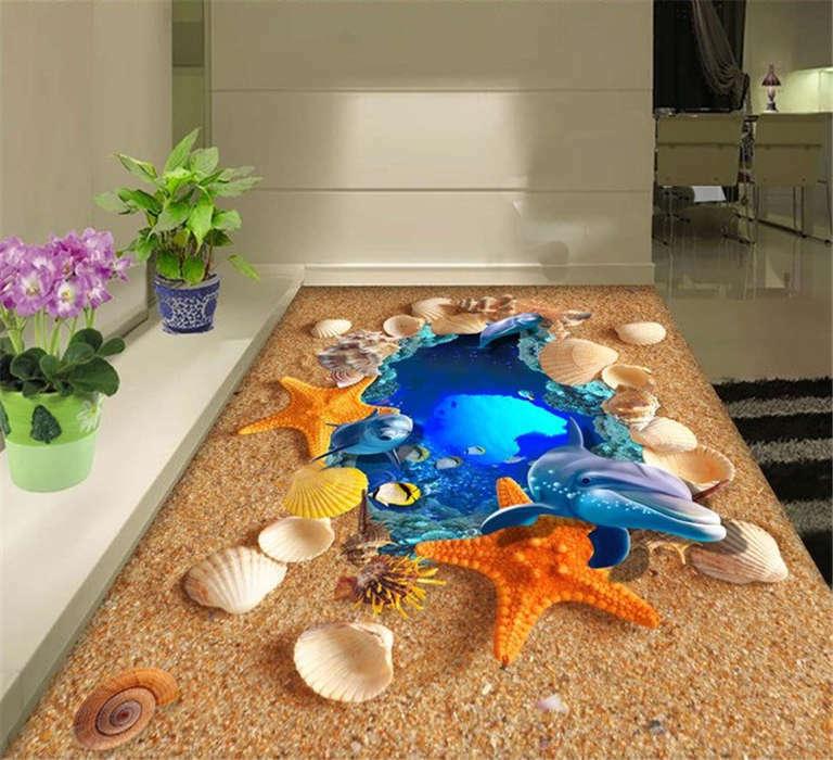 Dophin Sea Star Shell 3D Floor Mural Photo Flooring Wallpaper Home Wall Decal