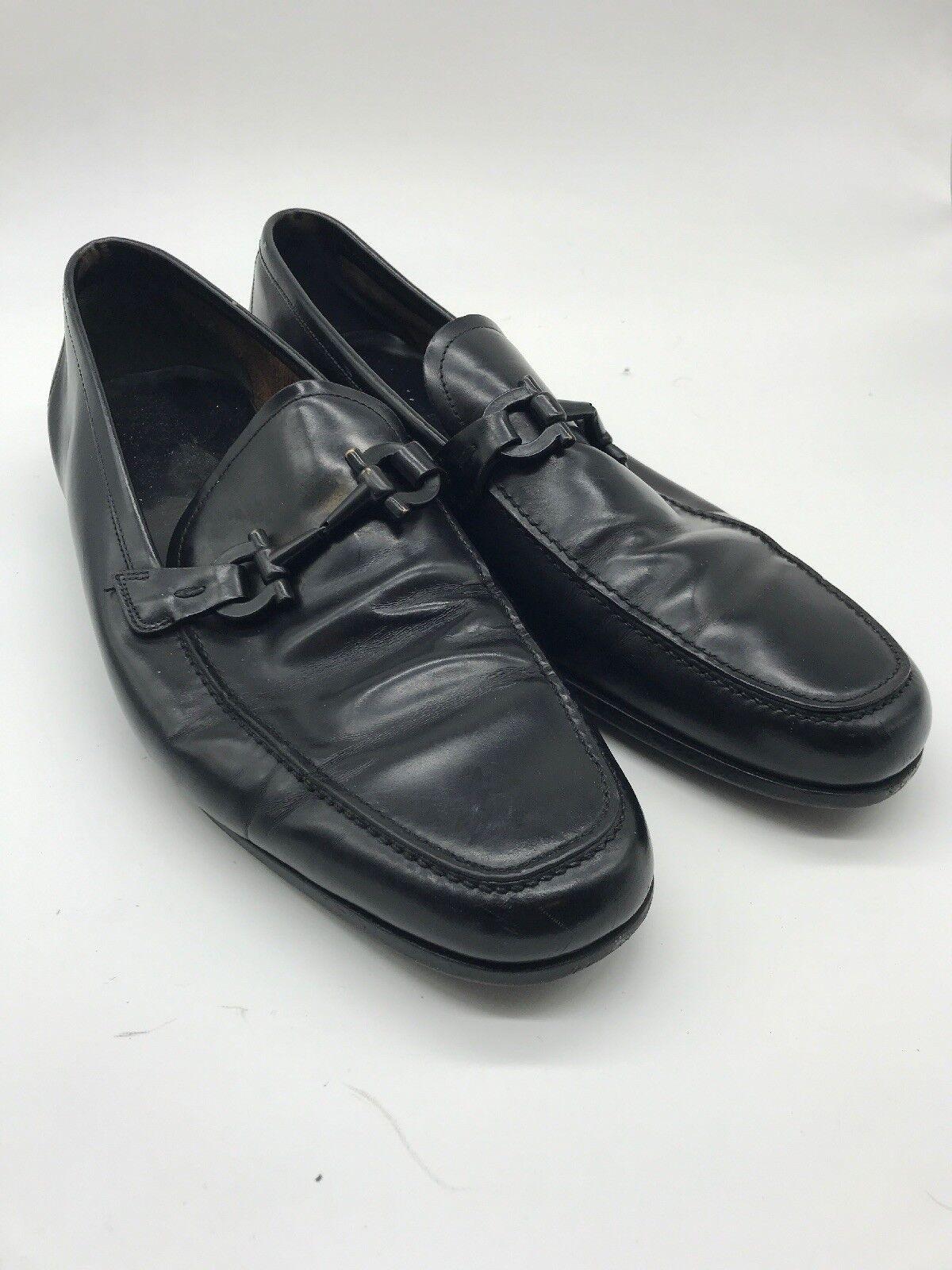 SALVATORE FERRAGAMO Loafers 11 D Men's shoes Casual Black Horse Bit