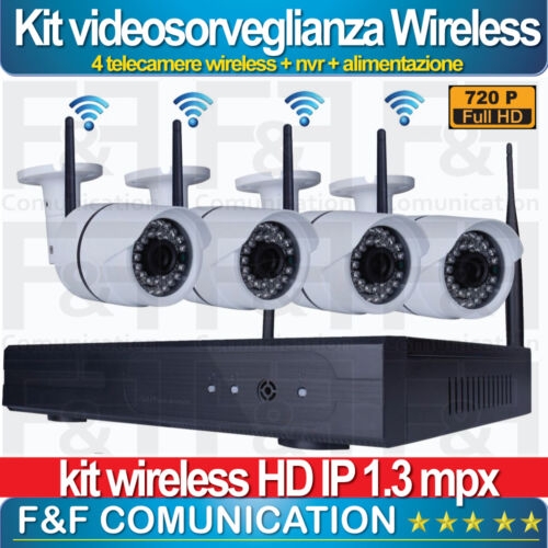 KIT VIDEOSORVEGLIANZA WIRELESS WIFI HD IP FULL HD 4 TELECAMERE NVR  CLOUD WIFI