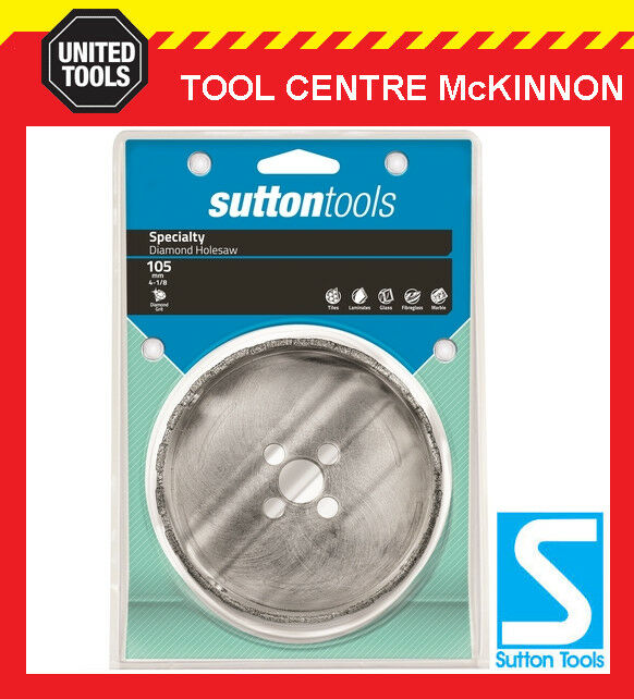 SUTTON 105mm DIAMOND GRIT HOLESAW FOR CERAMIC TILES, FIBRE CEMENT & SOFT STONE