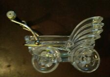 Crystal Baby Carriage 24% Lead Made in Italy by Kristal Color Blue Handle