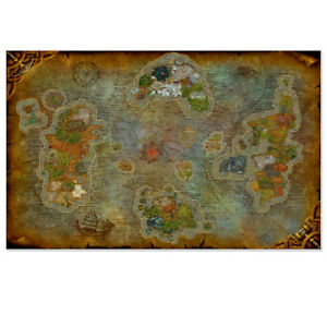 Huge Posters World Of Warcraft Azeroth World Map Chemical Fabric