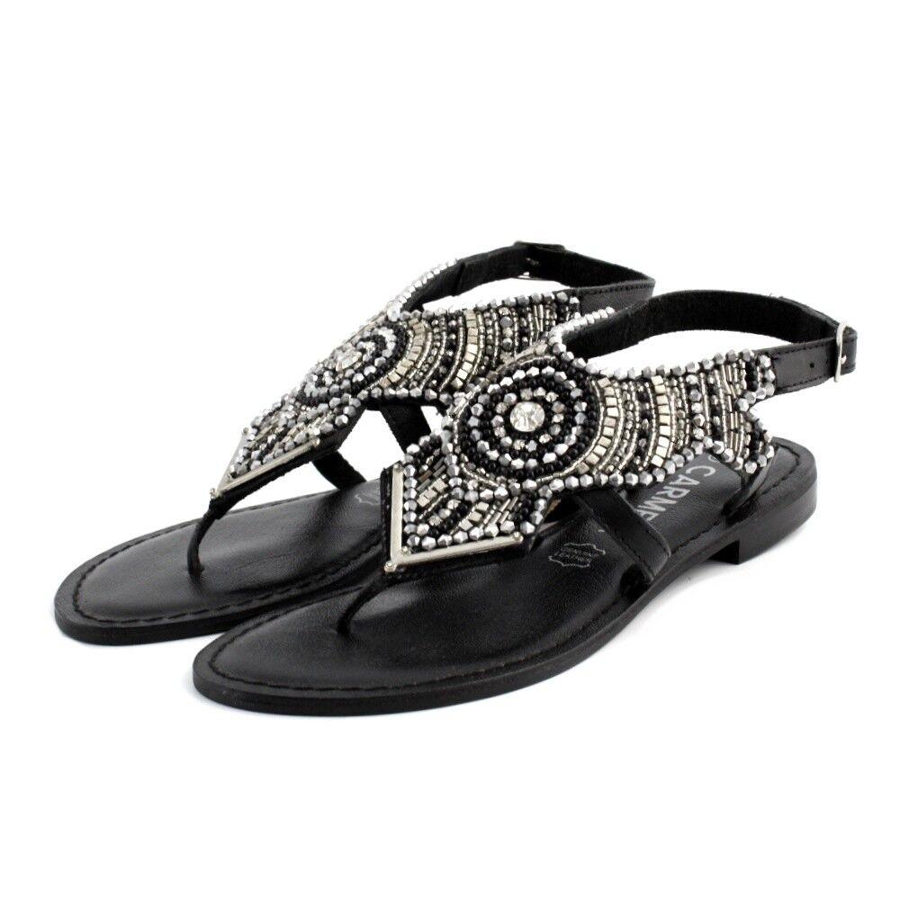 Sandales Chaussures tongs Carmela femme cuir noir de fantaisie ethnique chapelet