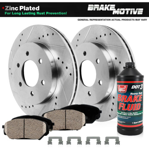 For 2006 2007-2009 Chevy Uplander Montana Front Drill Brake Rotors Ceramic Pad