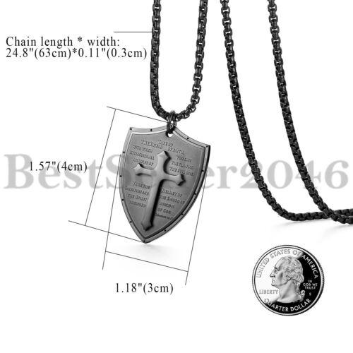 Men Shield Armor of God Ephesians 6:16-17 Cross Pendant Stainless Steel Necklace