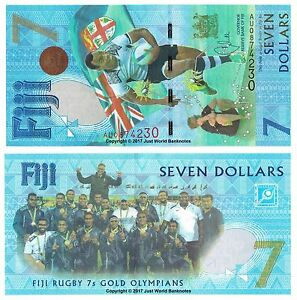 25 Fiji 2017 TWENTY-FIVE PCS $7 Seven Dollars Notes 2016 Gold Olympians UNC