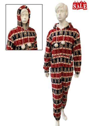 girls hooded soft micro fleece all in one jumpsuit nightwear pyjamas Ladies