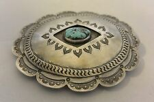 """XL Sterling Silver """"Concho"""" BELT BUCKLE Navajo TURQUOISE 1960's Great Stamping!"""