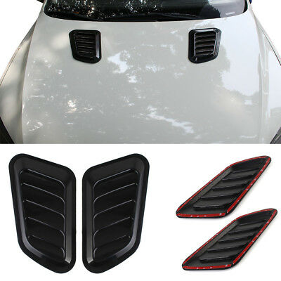 Black Car Decorative Air Flow Intake Scoop Turbo Bonnet Vent Cover Hood Fender