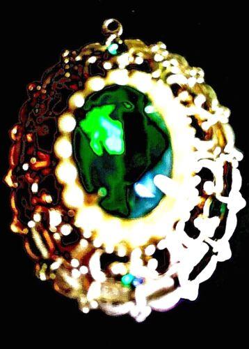 Vintage Cora Designer Signed Pendant with Green St