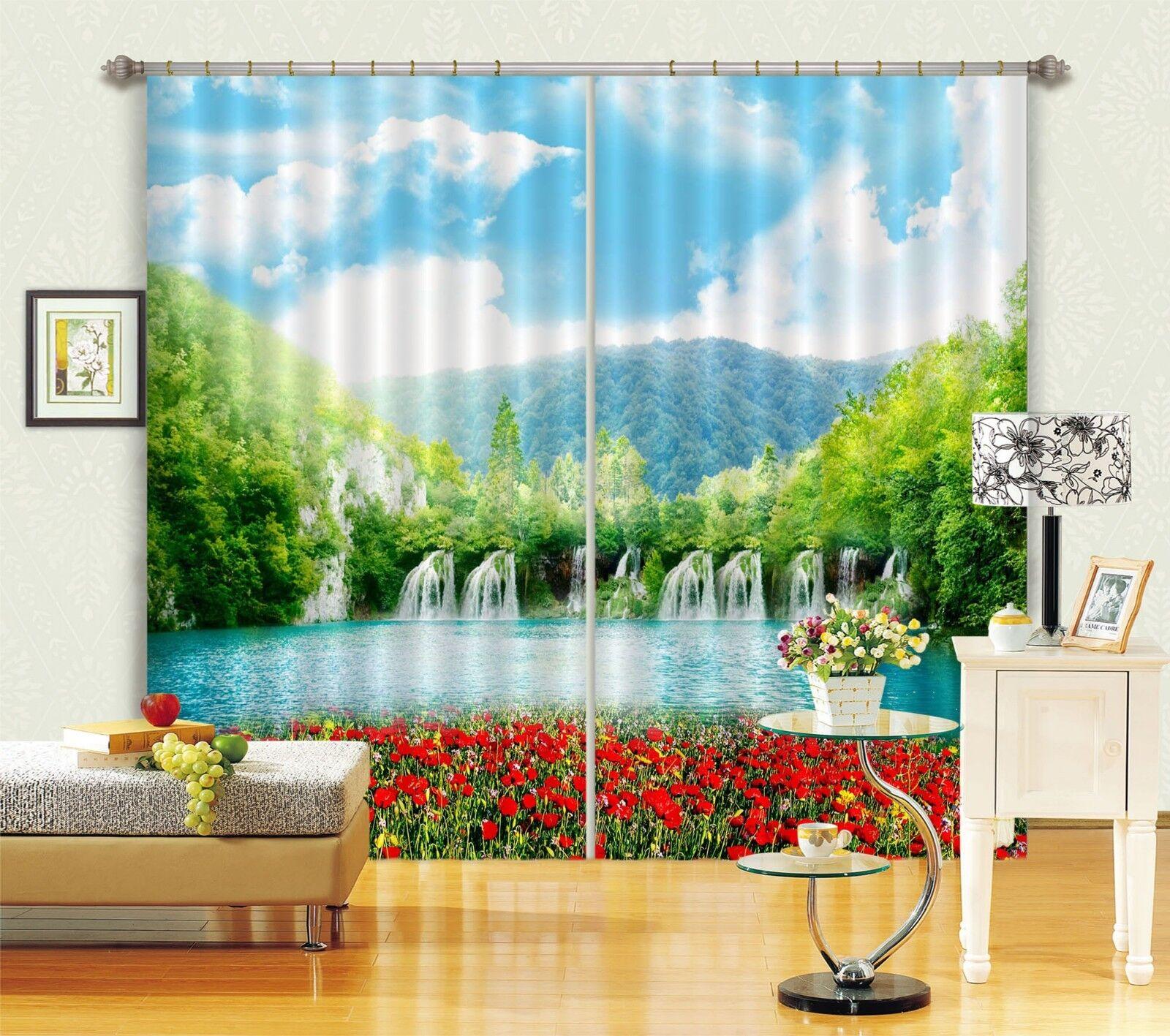 3D Flores Rojas Río 01 Cortinas de impresión de cortina de foto Blockout Cortinas nos Limón