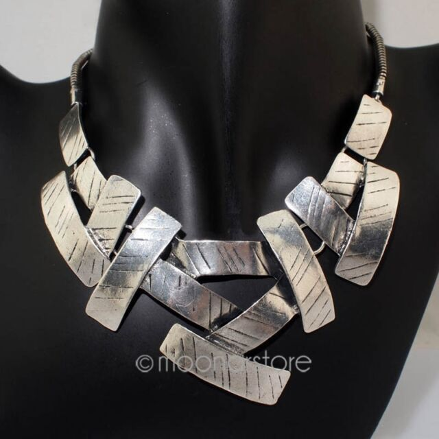 Fashion Women Punk Metal Jointed Geometric Statement Bib Necklace Collar Chunky
