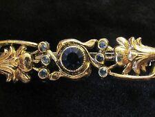 Beautiful Victorian Inspired Bar Pin Brooch Blue Rhinestones Antiqued Gold Tone