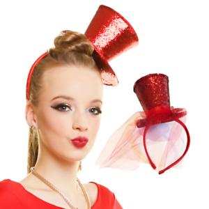 MINI GLITTER TOP HAT HEADBAND VEIL LADIES BURLESQUE HEN NIGHT PARTY FANCY DRESS
