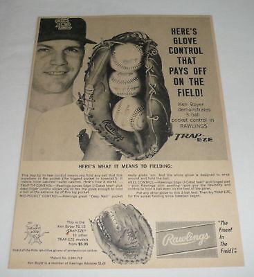 1962 Rawlings Baseball Handschuh Ad ~ Ken Boyer St Louis Cardinals ~ Trap-eze Fortgeschrittene Technologie üBernehmen Baseball & Softball Fanartikel