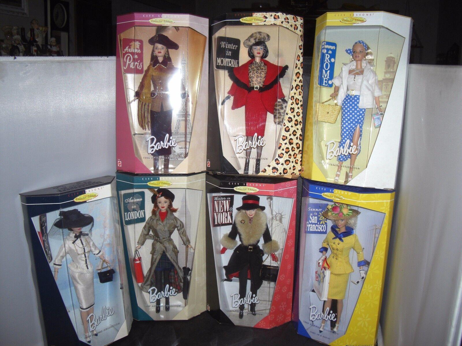 Barbie ciudad temporadas Dolomitas en Londres-París, springtokyo, summerrome-SanFran, Invierno