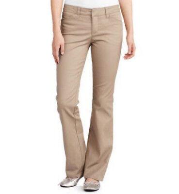 Dickies Pants Womens Junior Slim Fit Stretch Khaki 4 Pocket Bootcut Pant HH201