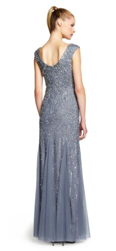 Adrianna Papell Sterling Silver Cap Sleeve Beaded Mermaid Gown NWT Size 2 $349