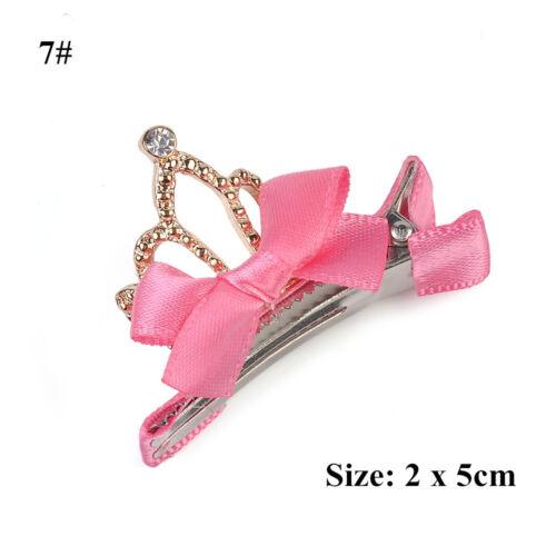Cute Girls Baby Hair Bows Hairpin Crown Princess Ribbon Clip Grosgrain Gift