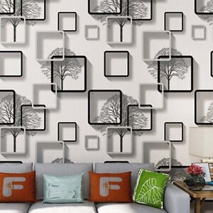 Details about 10M 3D Stereo Grids Wallpaper Abstract Black and White Trees  Wallpaper Bedroom