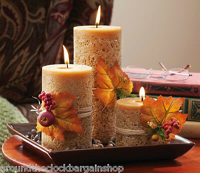 Autumn Harvest Pillar Candlescape Set  -Cinnamon Scented