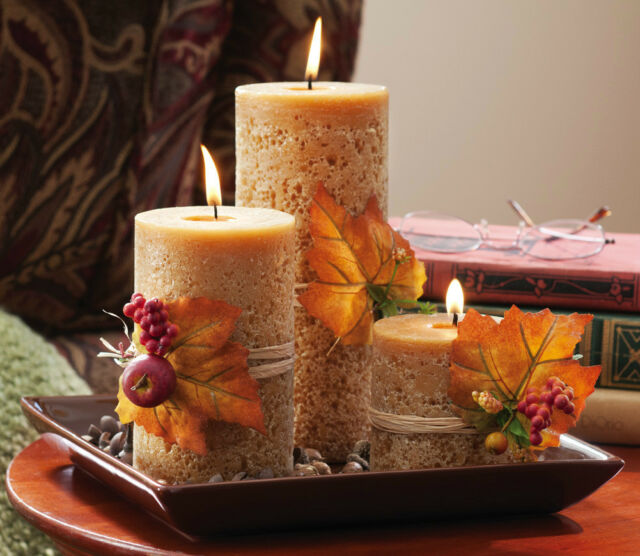Autumn Harvest Pillar Candlescape Set -Cinnamon Scented
