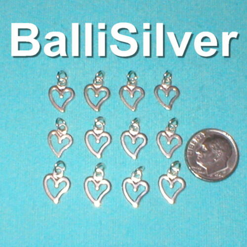 12 pieces 925 Sterling Silver 9mm Small OPEN HEART Charms Lot