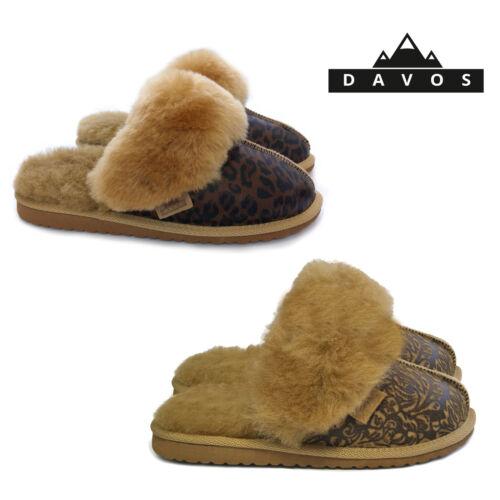 New Womens Ladies Luxury Twinface Sheepskin Suede Leather Mule Slippers EVA Sole