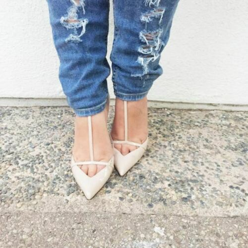 ZARA New Cut out POINTED ANKLE STRAP T Bar Nude HEELS Patent Leather UK 7 EU 40
