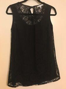 CABI-Women-039-s-XS-Shirt-Top-Blouse-Tunic-Black-Lace-Lined-Sleeveless-Style-942-EUC