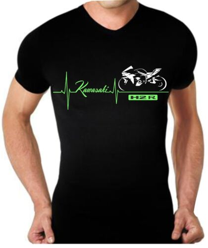 T-shirt maglia per moto Kawasaki H2R ninja battito cuore maglietta tshirt