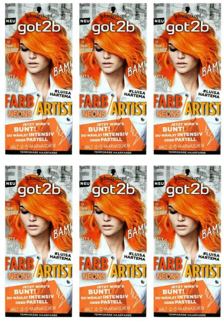 6x Schwarzkopf Got2b FarbArtist Haarfarbe,108 Neon Orange NEU