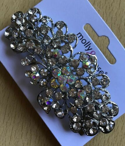 A Stunning Large Size Metal Silver And Diamanté Barrette Hair Clip