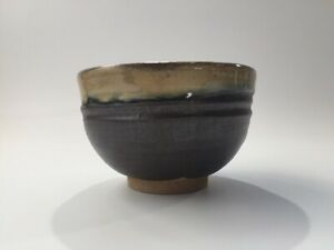 Japanese-Pottery-Tea-Ceremony-Bowl-Chawan-Vtg-Signed-Dark-Brown-Matcha-Cup-p285