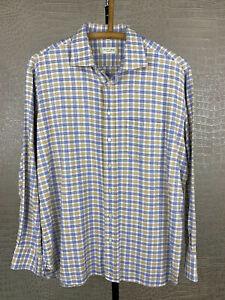 CHRISTIAN BERG Stockholm 43 XL Hemd Shirt Jacquard blau beige weiß kariert 4B6