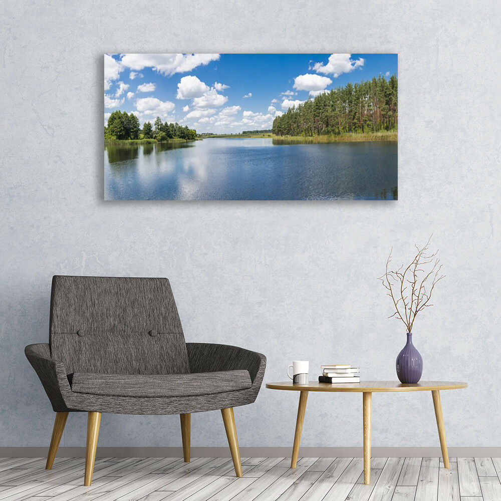 Photo sur toile Tableau Image Impression 120x60 Paysage Forêt Lac
