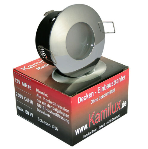 230V GU10 Bad Einbauleuchte Einbaustrahler Spot AQUA IP65 LED 5W Edelstahl geb.